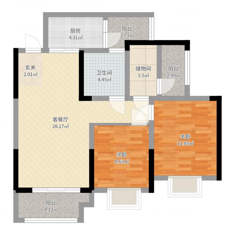 协信星都会三期13号楼标准层J户型户型图