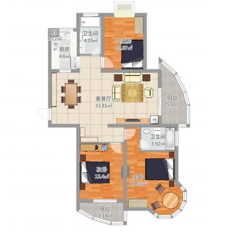 新港国际3室2厅2卫1厨120.00㎡户型图