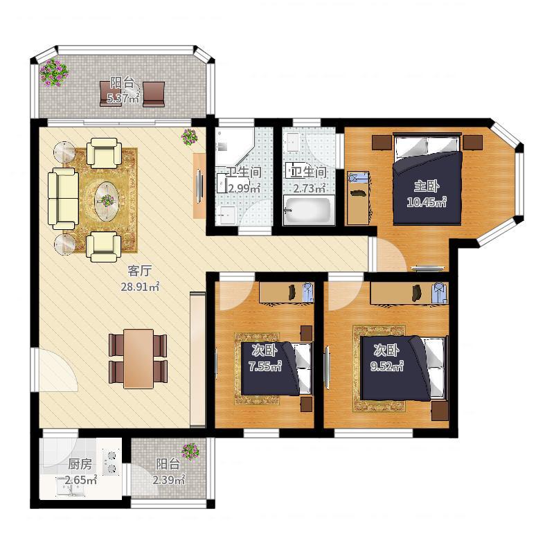 梓树园7栋01室(1-23层)户型图