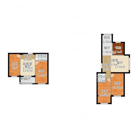 七彩时代广场二期5室1厅2卫1厨169.00㎡户型图