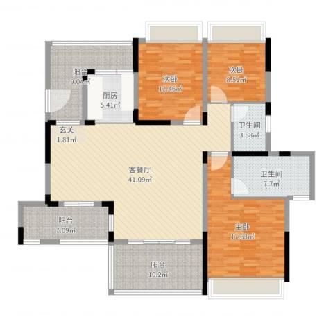 远大美域二期3室2厅2卫1厨154.00㎡户型图
