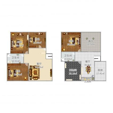 金桂苑7-1-60144室2厅2卫1厨391.00㎡户型图