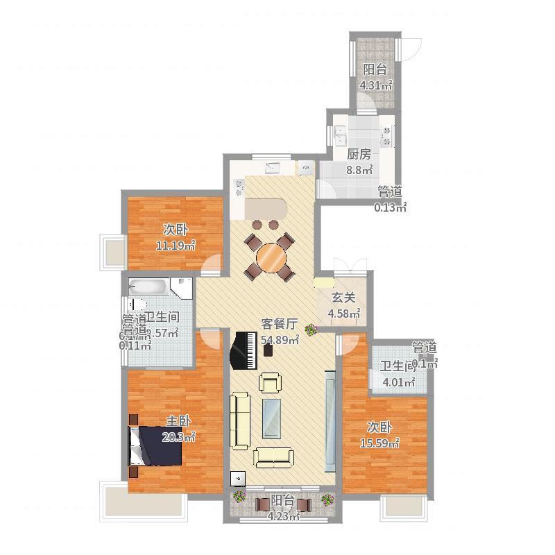 尚景・新世界187.00㎡5#9#户型3室3厅3卫1厨户型图