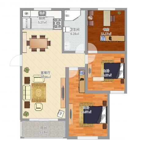 中豪国际星城三期3室2厅1卫1厨104.00㎡户型图