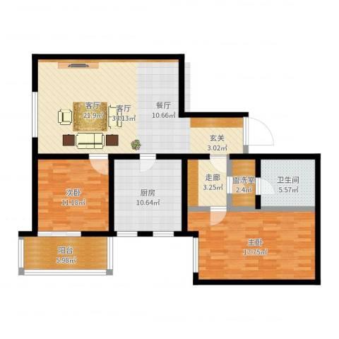 丽泽雅园2室1厅1卫1厨115.00㎡户型图