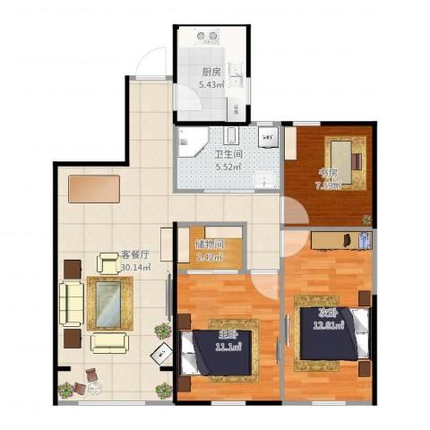 中天锦庭3室2厅1卫1厨94.00㎡户型图