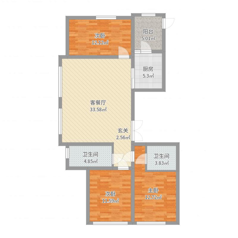 辰能溪树庭院(南区)145.44㎡C1户型3室3厅2卫1厨户型图