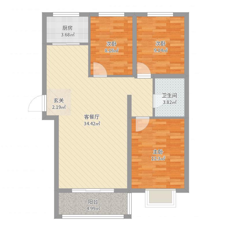 滨河公馆F户型3室2厅1卫1厨户型图