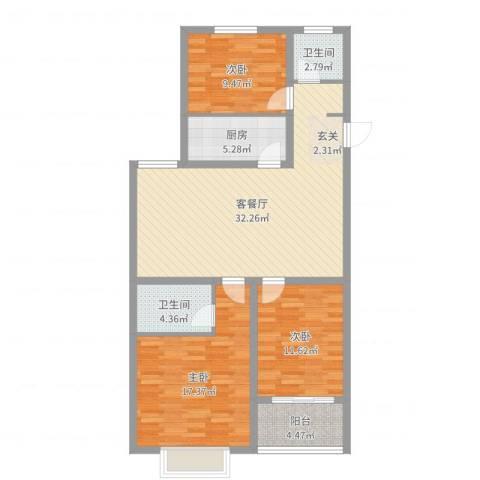 青年创业城曼哈顿3室2厅2卫1厨110.00㎡户型图