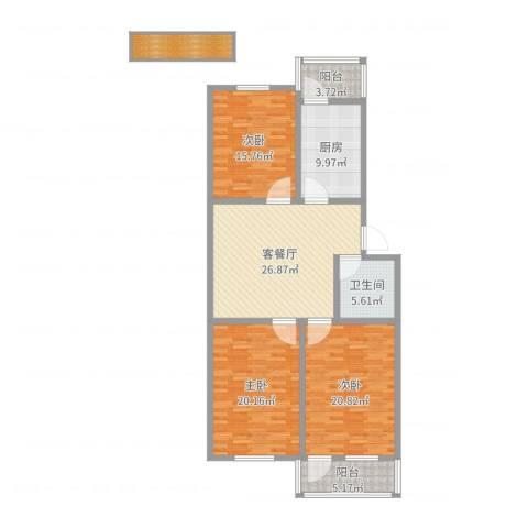 王官庄小区3室2厅1卫1厨141.00㎡户型图