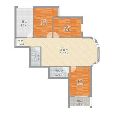富华家园3室2厅2卫1厨106.00㎡户型图