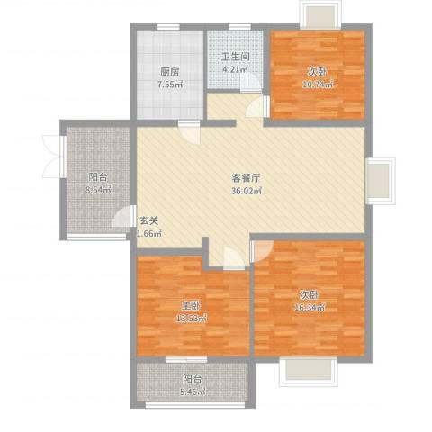 君悦国际花园3室2厅1卫1厨128.00㎡户型图