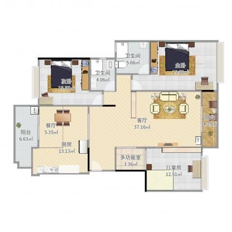 保利亚奥北苑3室2厅2卫1厨156.00㎡户型图