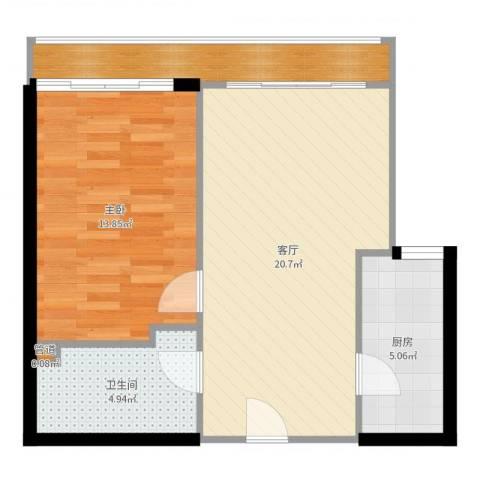百子湾家园1室1厅1卫1厨62.00㎡户型图