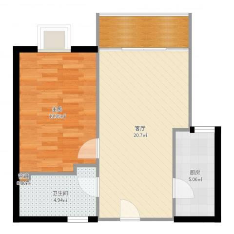 百子湾家园1室1厅1卫1厨61.00㎡户型图