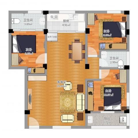 彭中教师新村3室2厅2卫1厨104.00㎡户型图