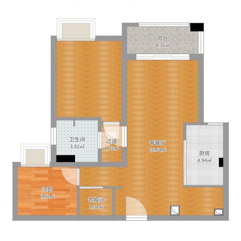 龙州南路58弄城开珑庭12号2302现代简约空间设计户型图