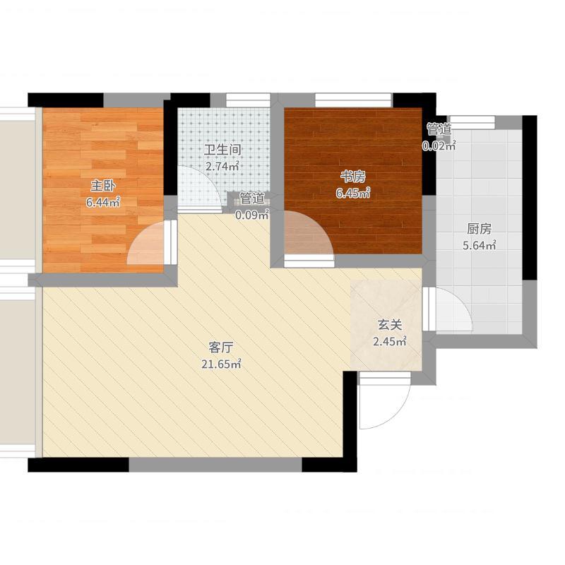 小石城梦想小镇58.82㎡E-3户型2室2厅1卫1厨-副本户型图