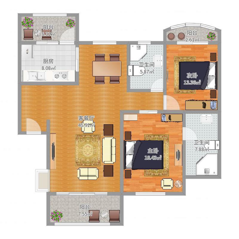 天域一期2房3户型图