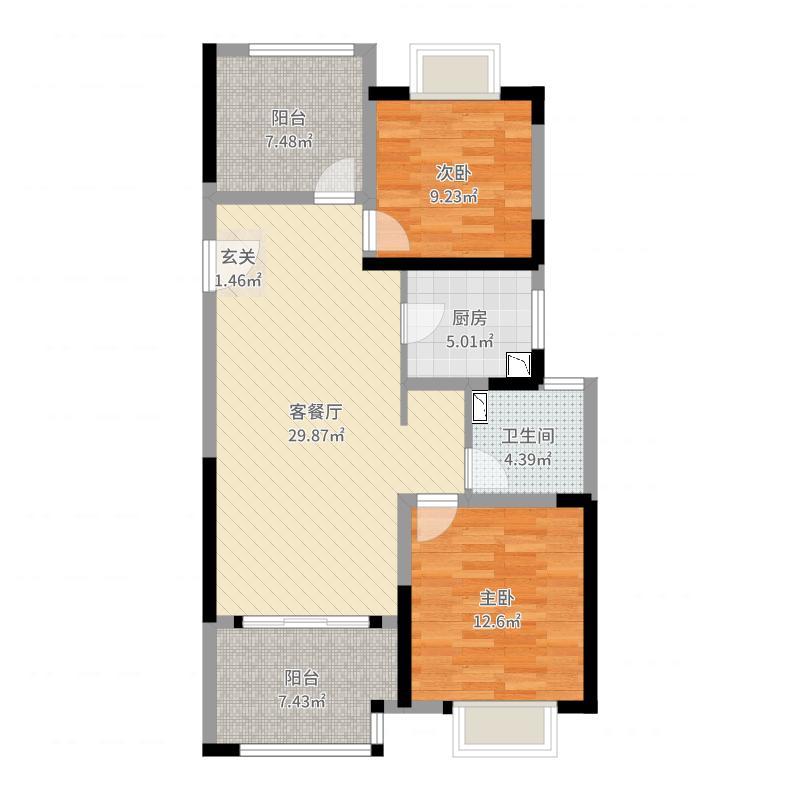 路劲城市主场95.00㎡二期13#标准层B1户型3室3厅1卫1厨-副本户型图