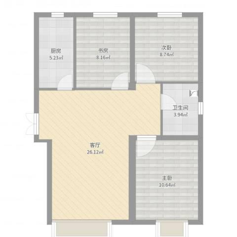 中国铁建·青秀尚城3室1厅1卫1厨91.00㎡户型图