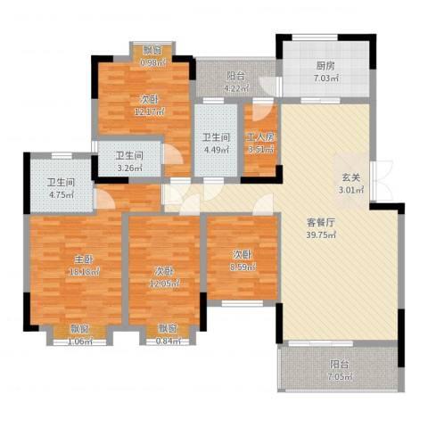 东田山畔华庭4室2厅3卫1厨156.00㎡户型图
