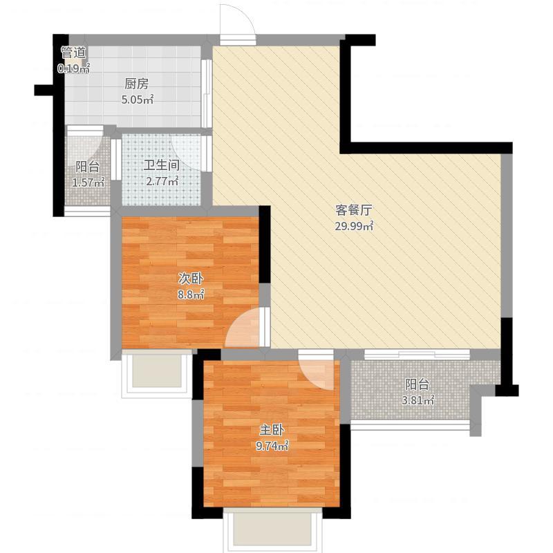 隆鑫天雨方69.82㎡一期1号楼7号房标准层户型户型图