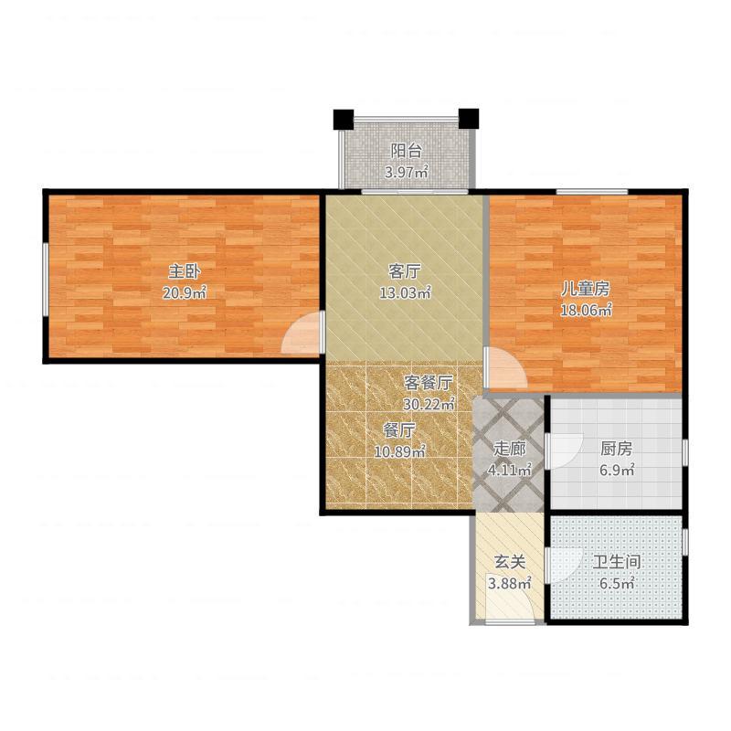 永翌公馆93.27㎡12楼F1户型2室1厅1卫1厨户型图