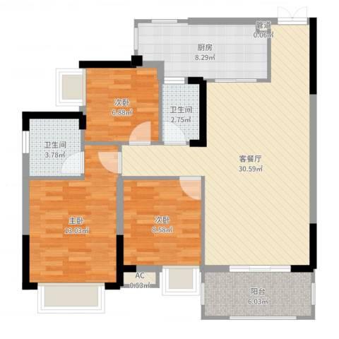 奥体中央公园3室2厅2卫1厨101.00㎡户型图
