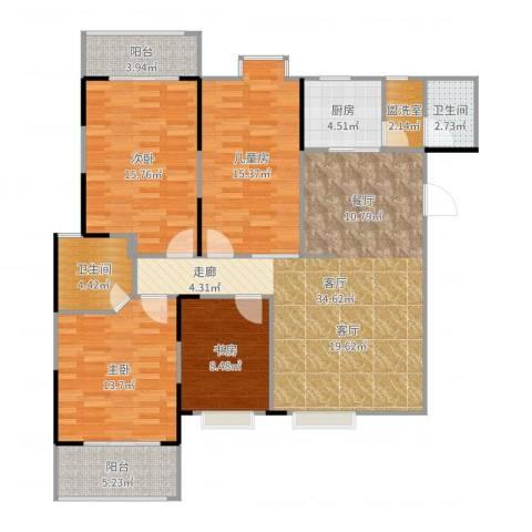 东方新城4室1厅2卫1厨139.00㎡户型图