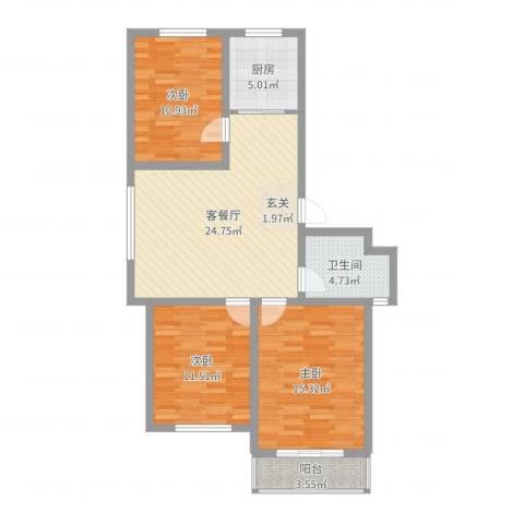 长峰尚海湾3室2厅1卫1厨95.00㎡户型图