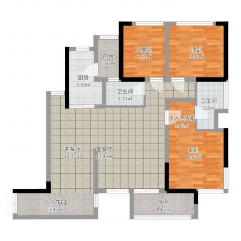 晟凡・兴龙湖一号3室2厅2卫1厨117.00㎡户型图