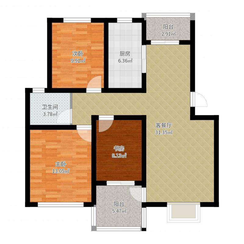 东郊小镇97.00㎡B1型户型10室-副本户型图