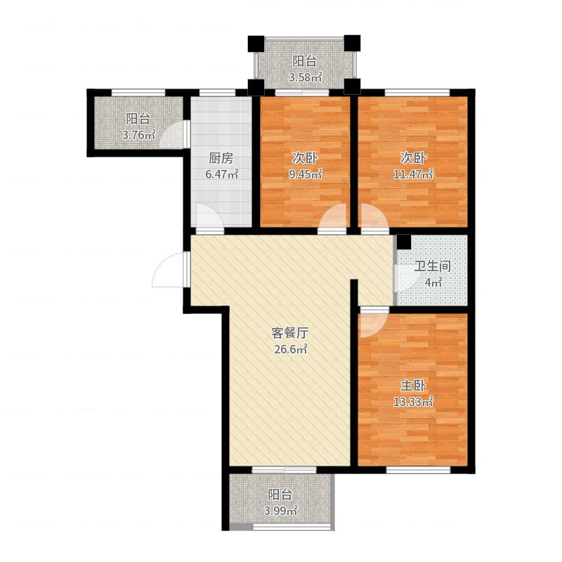 香公馆109.15㎡Q户型3室2厅1卫户型图