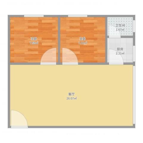 东苑小区2室1厅1卫1厨56.00㎡户型图