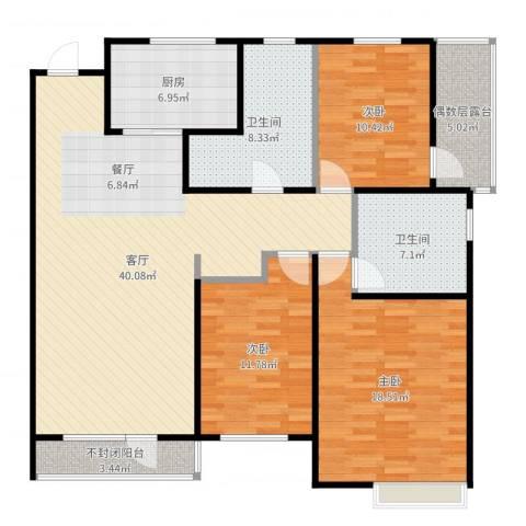 万科蓝山3室1厅2卫1厨140.00㎡户型图