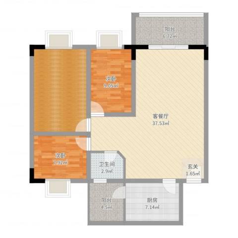 东湖花园四区2室2厅1卫1厨114.00㎡户型图