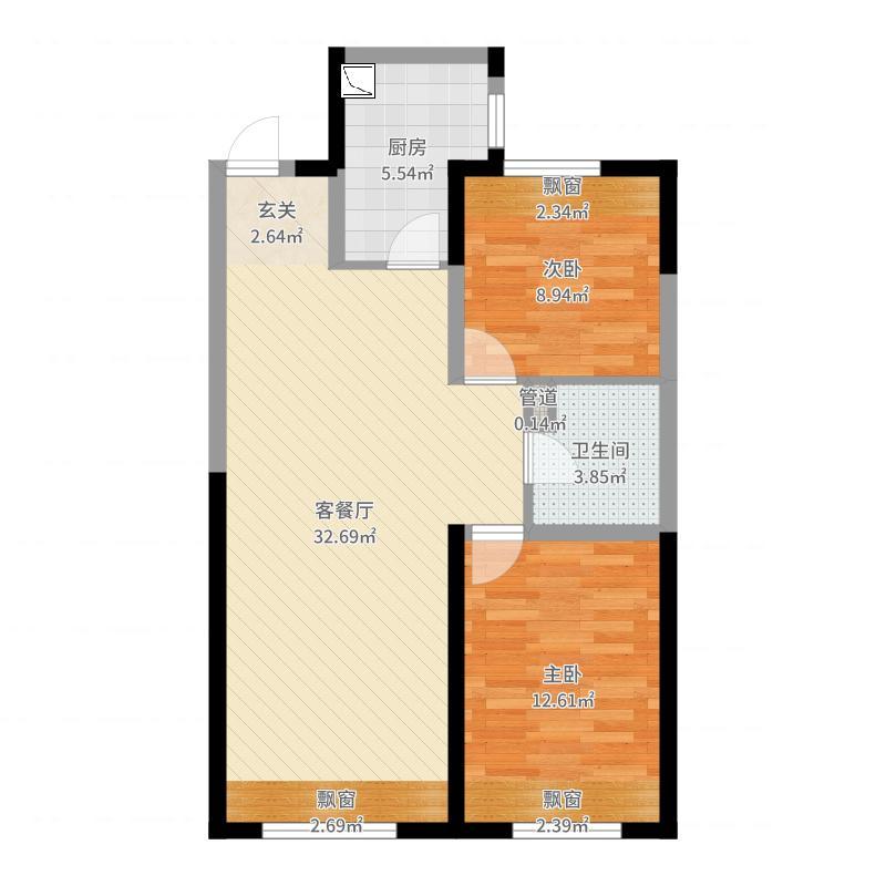 金地名悦90.00㎡B户型2室2厅1卫1厨户型图