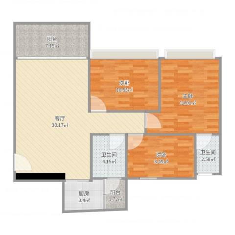 君安峰景湾3室1厅2卫1厨103.00㎡户型图
