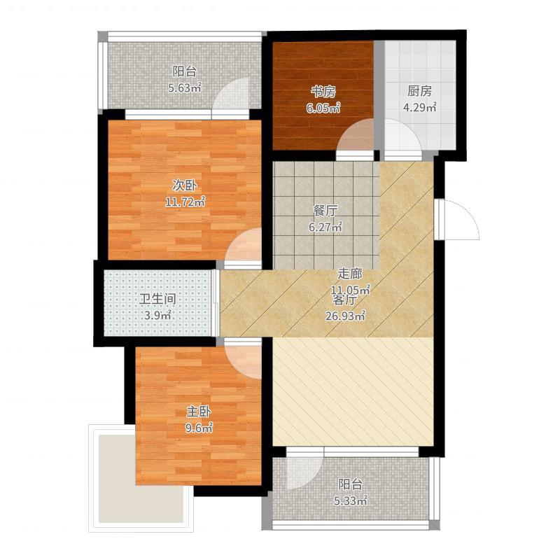 阳光100国际新城_三期_C2-7_2-18-2_无家具-副本户型图