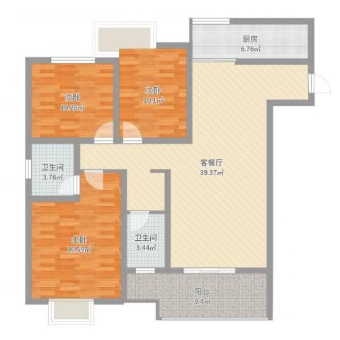 漓水书香3室2厅2卫1厨125.00㎡户型图