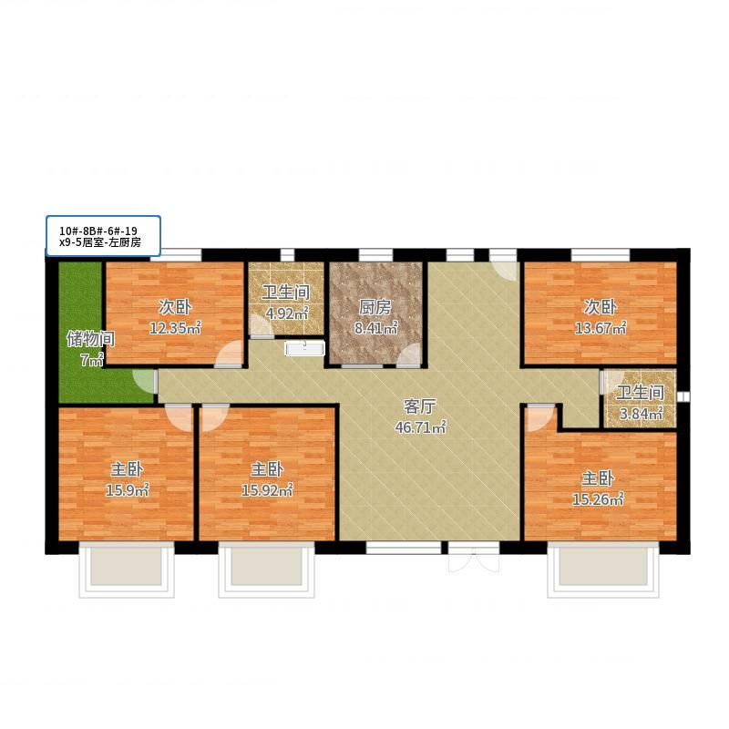 10-8B#-6#-19x9-5居室-左厨房-副本户型图