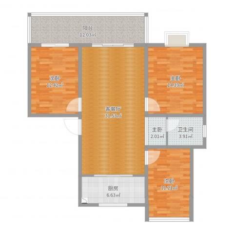 时代国际戴学俊钱琳琳410004室2厅1卫1厨118.00㎡户型图