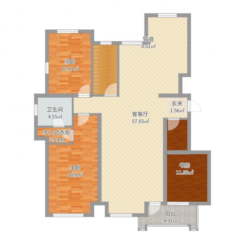 希望加州华府154.00㎡B-c户型3室2厅2卫1厨-副本户型图