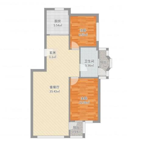青林美地2室2厅1卫1厨89.00㎡户型图