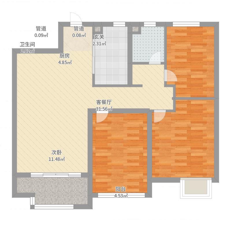 海亮长桥府95.00㎡一期21#情景公馆标准层中间户户型3室3厅1卫1厨-副本户型图