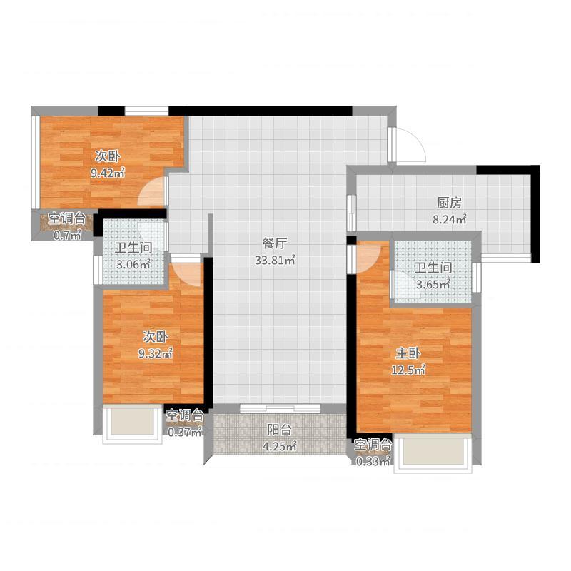 来新居·水岸国际南岸·A5户型111.25平方-方案一户型图