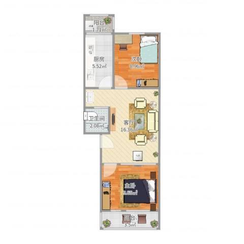 兴政西里2室1厅1卫1厨63.00㎡户型图