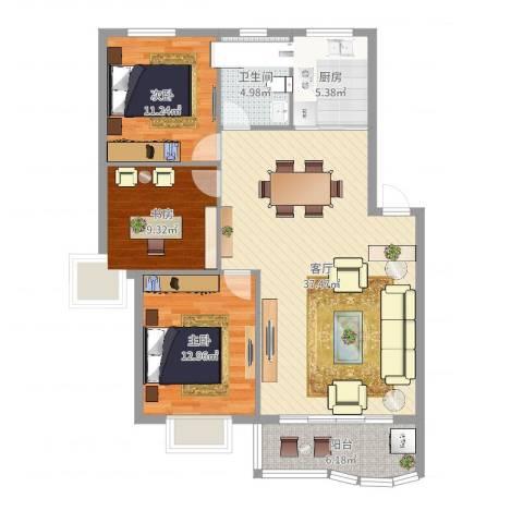 东方花园3室1厅1卫1厨109.00㎡户型图