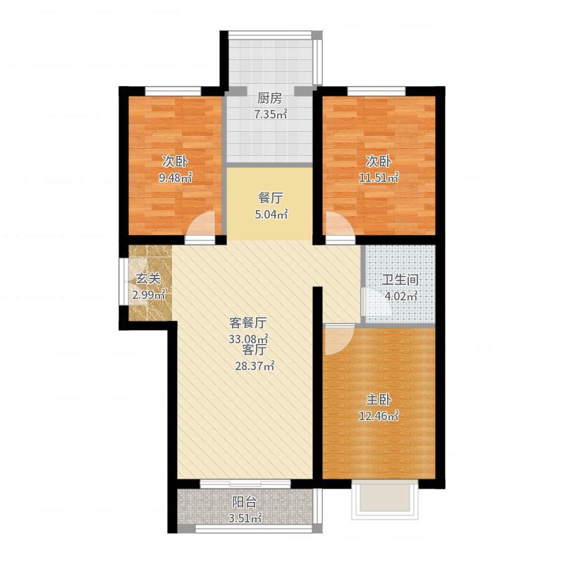世纪龙庭二期118.00㎡N2户型3室2厅1卫-副本户型图